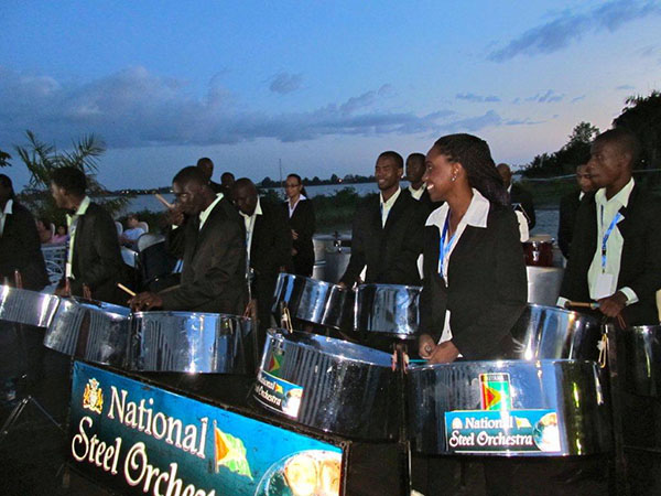 Guyana's National Steel Orchestra (Guyana) in action on the Pier of Torarica